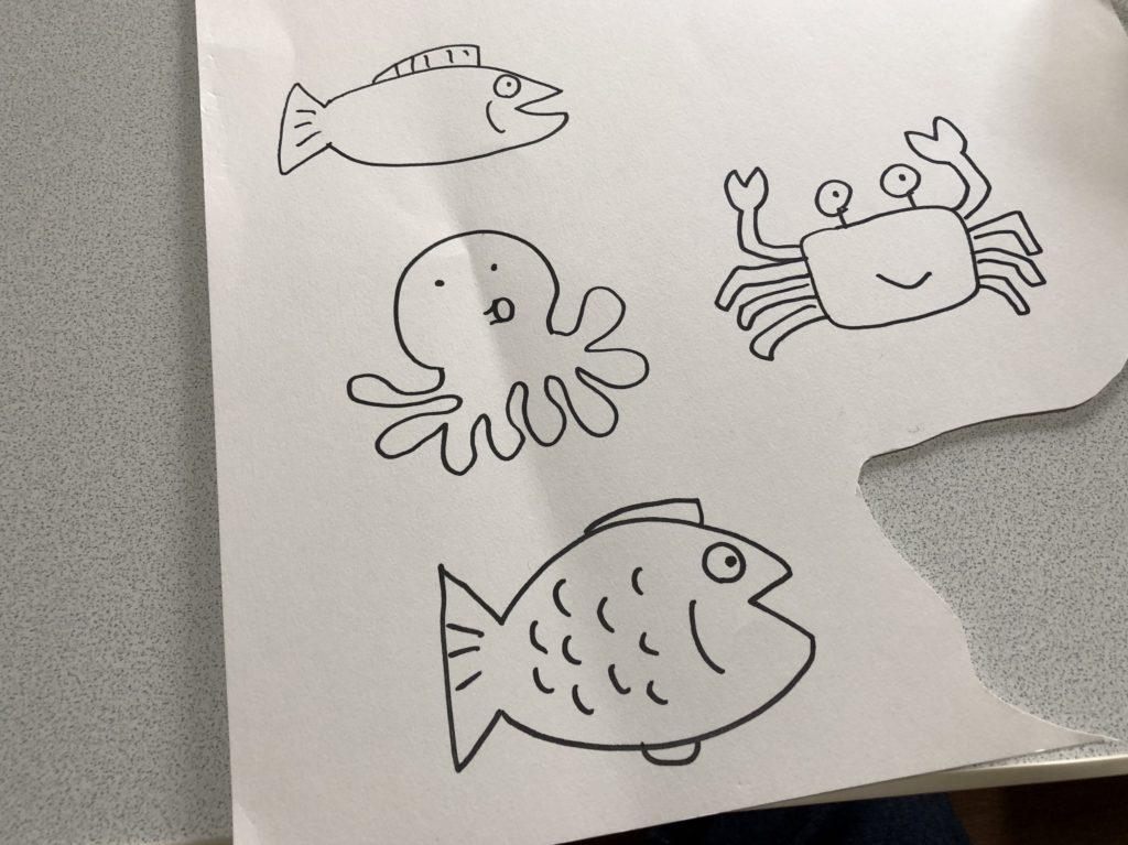 魚の絵を描いた。